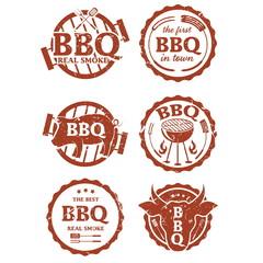 Illustration set of bbq labels. Vector