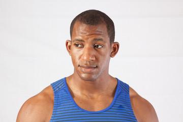 Strong black man looking focused