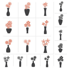 Set of Flowers in Vase Collection, 9 Different Kinds of Flower Vases. 2 colors and Black Color Design, Vector Illustration.