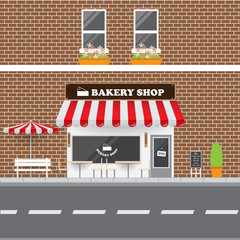 Bakery Shop Facade with Street Landscape. Brick Building Retro Style Facade  Vector Illustration.