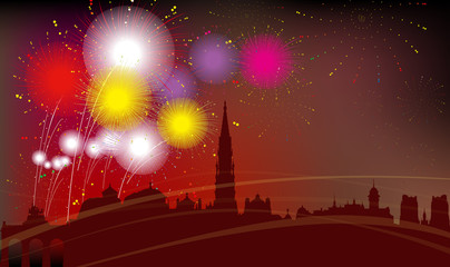 Brussels City Silhouette, Celebration, Fireworks