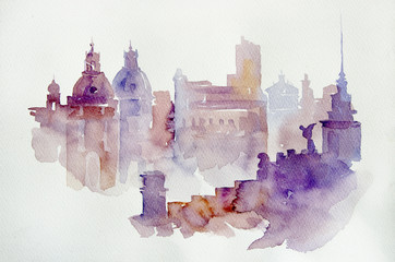 Watercolor illustration European view