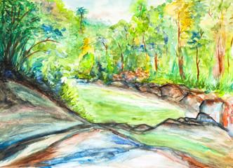 fresh forest landscape watercolor on paper