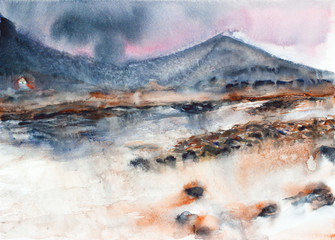 river and mountain landscape watercolor on paper