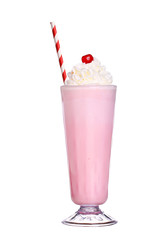 milkshakes strawberry flavor with cherry and whipped cream isola