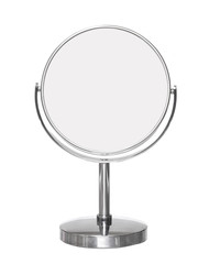 Desktop make up cosmetic mirror isolated on white background