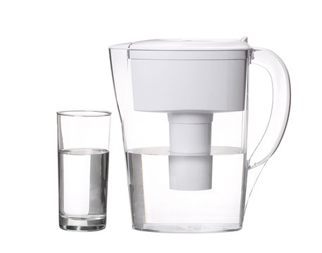 water filter jug with glass of clean water isolated on white bac