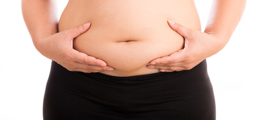 Women with fat belly on white background