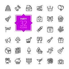 Outline web icon set - Party, Birthday, celebration