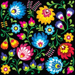 Floral Polish folk art pattern on black - Wzory Lowickie, Wycinanki  - 87425519