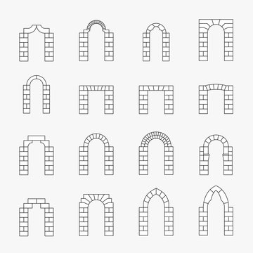 Black icons of vector arch silhouette