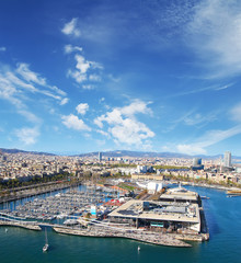 Aerial view of the Harbor district of Barcelona, Spain
