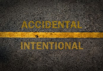 Yellow line on the high way.Conceptual between accidental and in