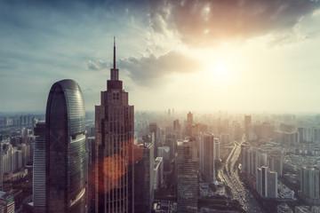 Panoramic modern city skyline with sunshine