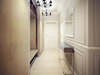 The narrow entrance in Art Deco style