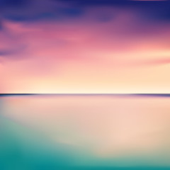 Panorama of a sunset in the sea or ocean, vector illustration