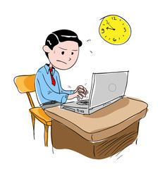 Man Working Overtime, a hand drawn vector illustration of a man working overtime, isolated on a white background (editable).