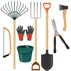Set of garden tools on white background