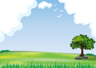 Natural landscape background,Tree in the meadow and a cloudy sky.
