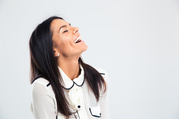 Portrait of a happy young woman laughing