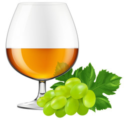 Brandy glass with grapes. Vector illustration.