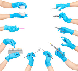 collection of hands holding dental tools isolated on white backg