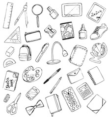 Vector drawing school items