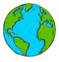 Hand drawn Globe Earth. Vector illustration