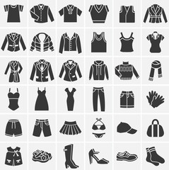 Vector clothes icons collection.