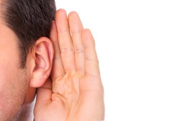 Ear listening secret isolated Wall mural