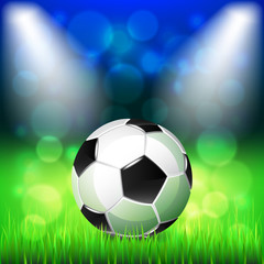 Soccer ball on stadium vector background