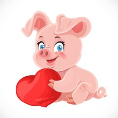 Cute cartoon happy baby pig hugging a soft red pillow heart isol