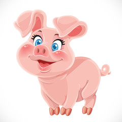 Cute cartoon happy baby pig
