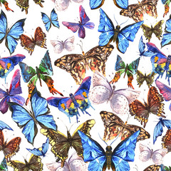 Fotobehang Vlinders in Grunge Beautiful colorful summer watercolor butterflies seamless