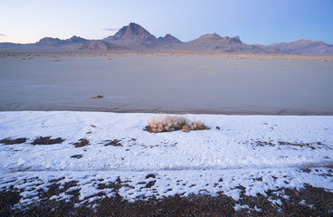 Fresh Snow Bonneville Salt Flats Utah Silver Island Mountains