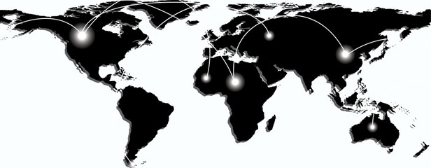 Map of world with trading paths and points