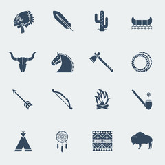 American native indians icons isoated