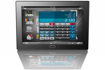 Tablet Calcolatrice_001 Tablet con visualizzata, sulle icone delle varie app, l'applicazione calcolatrice.
