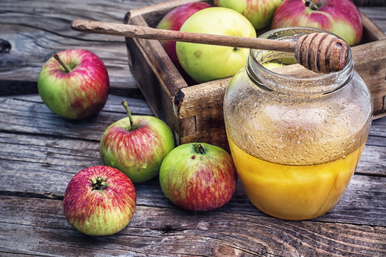 harvest of ripe apples and honey to the Church celebration of the apple feast day