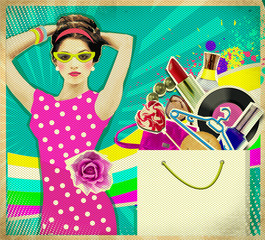 Young woman in pink dress .retro shopping poster background