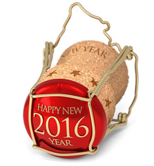 new year's champagne cork isolated on white