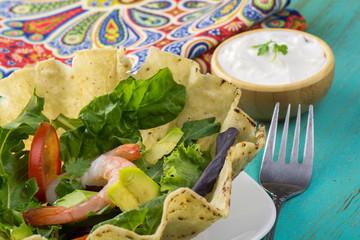 Shrimp tostada bowl salad.