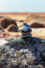 Cairn on the beach on the Baltic Sea