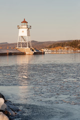 Morning Light Harbor Breakwater Lighthouse Lake Superior Minneso