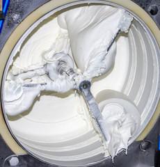 The machine fridge for ice cream with ice cream inside