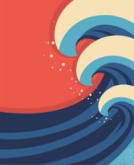 Sea waves poster.Vector illustration of sea landscape.