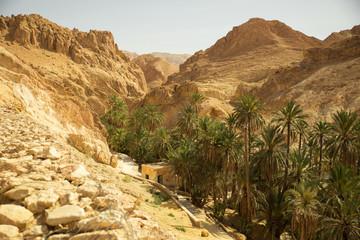 Mountain path in Sahara desert Tunisia