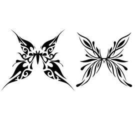 Abstract butterfly tattoo, vector illustration