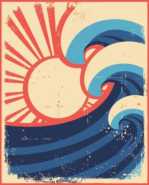 Sea waves poster.Grunge illustration of sea landscape.