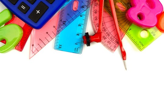 Border of school supplies with math theme on a white background